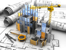 Construction. 3d illustration of building construction over blueprints background Royalty Free Stock Photos