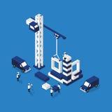 Construction d'une illustration 3D plate de maison Photographie stock