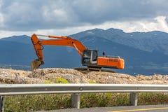 Construction d'une route Mouvement de terrain photographie stock