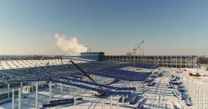 Construction d'une usine ou d'un entrepôt moderne, vue extérieure et panoramique industrielle moderne, entrepôt moderne clips vidéos