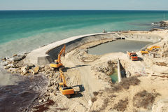 Construction of the dam. royalty free stock image