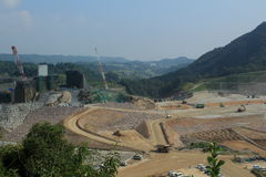 Construction of the dam. Landscape of construction of dam Stock Photography