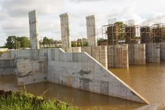 Construction dam site. Stock Photo