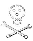 Construction danger sign. Abstract construction sign with crossed wrenches and skull formed from nuts and bolts, white background Royalty Free Stock Images