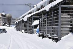 Construction dans la neige Photographie stock