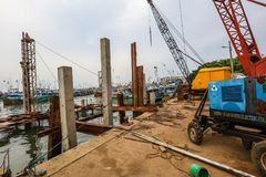Construction dans le port de Galle, Sri Lanka Photographie stock libre de droits
