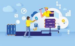 Construction of data business office website illustration vector illustration