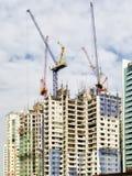 Construction de bâtiments avec des grues sur le dessus Images stock