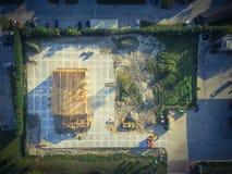 Construction de bâtiments commerciale de maison en bois aérienne photographie stock