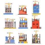 Construction de bâtiments moderne non finie réglée sans les personnes et le Crane Set Of Icons de levage Photos libres de droits