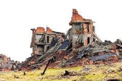 Construction de brique complet ruinée Images libres de droits