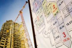 Construction de Builded et son plan Photographie stock