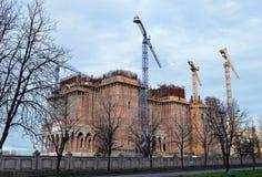 Construction de cathédrale de salut national, Bucarest, Roumanie Photographie stock libre de droits