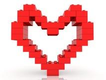 Construction de coeur des briques de jouet dans la couleur rouge illustration 3D illustration stock