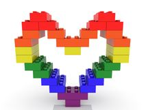Construction de coeur des briques de jouet illustration 3D illustration de vecteur