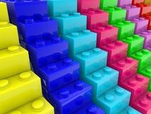 Construction de concept d'escalier des briques colorées de jouet illustration libre de droits