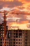 Construction de coucher du soleil Images stock
