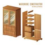 Construction de garde-robe ou conception de cabinet intégré Photo libre de droits