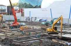 Construction de grue de deux véhicules Photo libre de droits