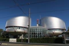 Construction de la Cour Européenne des Droits du Homme à Strasbourg images libres de droits