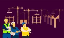 Construction de la position hommes-femmes regardant l'avant de ciel du constructeur Illustration EPS10 de vecteur illustration de vecteur