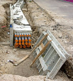 Construction de la tramway photographie stock