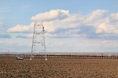 Construction de ligne électrique Photo libre de droits