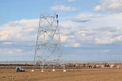 Construction de ligne électrique Photos libres de droits