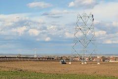 Construction de ligne électrique Photographie stock libre de droits