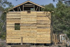 Construction de maison en bois dans une forêt Photographie stock libre de droits