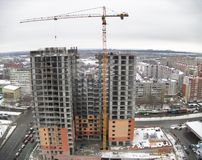 Construction de maison résidentielle dans Tyumen Photos libres de droits