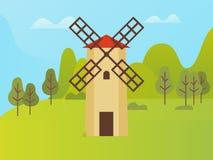 Construction de moulin à vent, parc naturel avec des arbres illustration stock