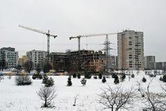Construction de nouvelles maisons dans le secteur de Fabijoniskes de ville de la Lithuanie Vilnius Images stock