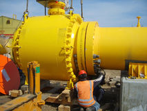 Construction de pétrole et de gazoduc Images libres de droits