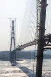 Construction de pont en hiver Images libres de droits