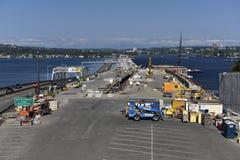 Construction de pont, près de Seattle, les Etats-Unis Photo stock
