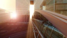 Construction de ponts moderne au coucher du soleil banque de vidéos