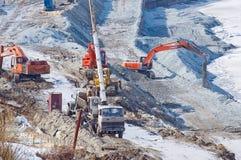 Construction de quai piétonnier dans Tyumen Image libre de droits