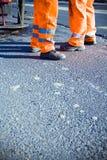 Construction de routes et ouvriers photo libre de droits