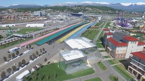 Construction de SOTCHI, RUSSIE de nouveaux hôtels dans le village olympique à Sotchi, Russie La capacité atteindra 2.600 personne Photo stock