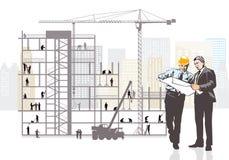 Construction de surveillance d'architecte et de client Images stock