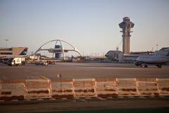 Construction de thème de LAX dans la lumière chaude de coucher du soleil Images stock