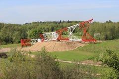 Construction de tour à haute tension de ligne électrique Images libres de droits