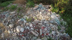Construction debris off the road stock video footage