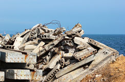 Construction debris - reinforced concrete blocks rusty armature Royalty Free Stock Photography