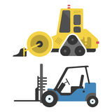 Construction delivery truck transportation vehicle mover road machine equipment vector. Delivery truck transportation construction vehicle and road machine Stock Image
