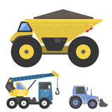 Construction delivery truck transportation vehicle mover road machine equipment vector. Stock Photo