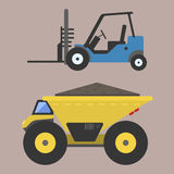 Construction delivery truck transportation vehicle mover road machine equipment vector. Stock Photos