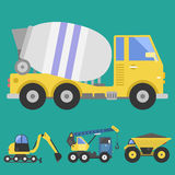 Construction delivery truck transportation vehicle mover road machine equipment vector. Royalty Free Stock Images