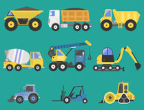 Construction delivery truck transportation vehicle mover road machine equipment vector. Royalty Free Stock Photography